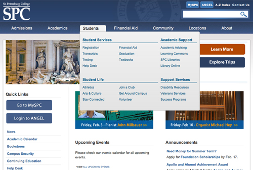 Screen shot of new SPC home page