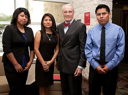 SPC President Bill Law celebrates the tuition equity bill with Celeste Pioqunito, Nancy Hernandez and Jose Flores.
