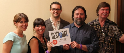 From left: Rosaria Pipitone, Career Outreach Specialist; Katie Hicks, Administrative Services Specialist; Patrick Hernly, Academic Chair, MIRA; Dave Greenberg, Instructor; and David Manson, Professor. These Music Industry/Recording Arts related faculty and staff celebrate the program's Best Musician Incubator Best of the Bay 2014 award from Creative Loafing.