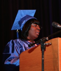 Celeste Edwards speaks to graduates