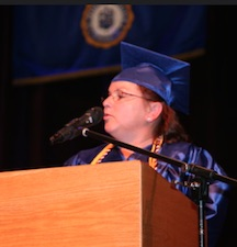 Tammy Mintler speaks at the morning graduation.