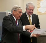 Jenkins discusses details of the opening of the CCET with Florida Colleges Chancellor Randy Hanna.