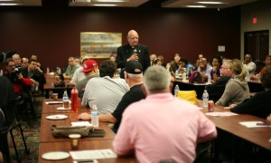 "Father, Robert ""Bob"" Swick, chairman of the Tampa Bay Veterans Alliance, addresses attendees"