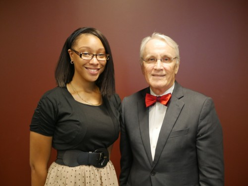 Presidential scholarship recipient with Dr. Law