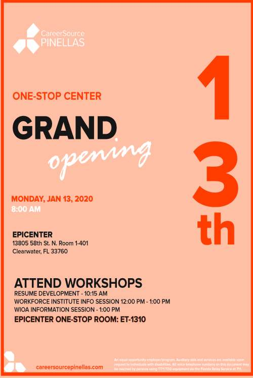 Flier for CareerSource Pinellas Center Grand Opening