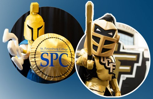 Image of two college mascots, St. Petersburg College's Titus the Titan and the University of Central Florida's Knightro the Knight