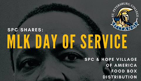 Dr. Martin Luther King, Jr. is portrayed with the text, MLK Day of Service