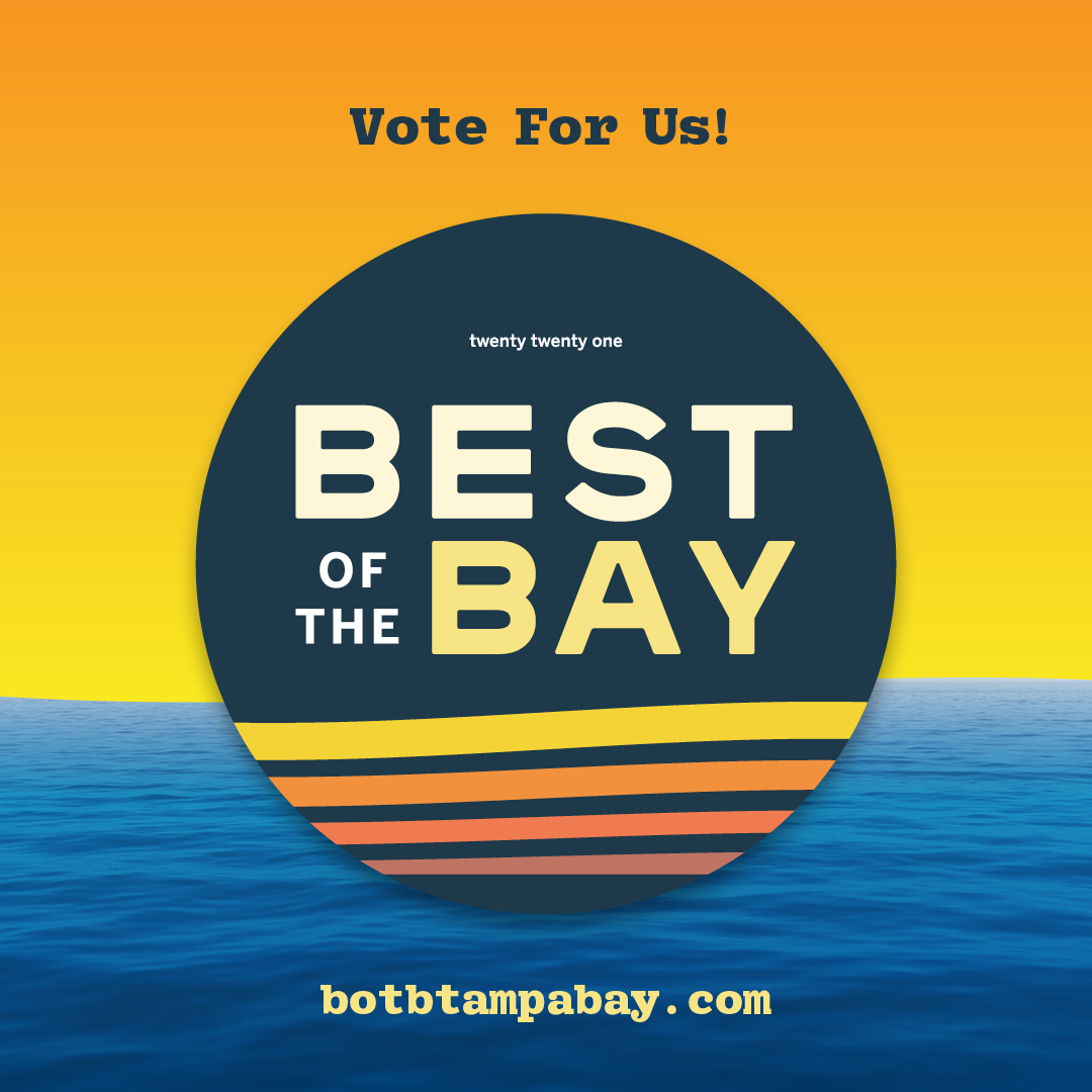 A sunset graphic that reads 'vote for us, best of the bay, bottampabay.com'